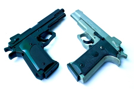 Two short pistol barrel on white background  photo