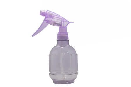 plastic water sprayer container on white background photo
