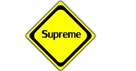 supreme: Vector supreme sign isolated on white