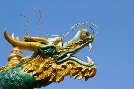 Close-up dragon statues face  photo