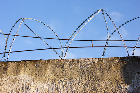 reinforced concrete fence barbed wire fencing protection zone prohibited, Barbed wire fences