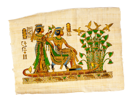 Antique egyptian papyrus and hieroglyph, ancient Egyptian parchment