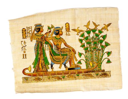 Antiker ägyptischer Papyrus und Hieroglyphe, altägyptisches Pergament