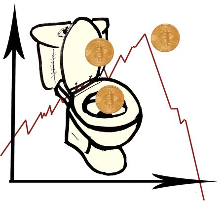 Bitcoin on a sheet of white paper. Graphic drawing with decreasing bitcoat speed. The graph fell below zero. Coins drop into it in the toilet.