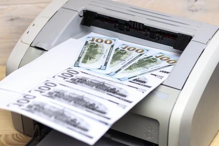 printed dollars  home printer  concept crime fake money