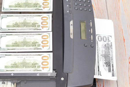 printed euro. home printer. concept crime fake money