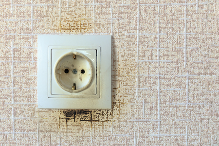 socket. because of the short circuit burned. close-up. no flame Stockfoto - 119848727