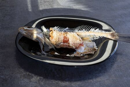 wooden background. a plate of dark color. there are bones from eaten fish Stok Fotoğraf - 129922749