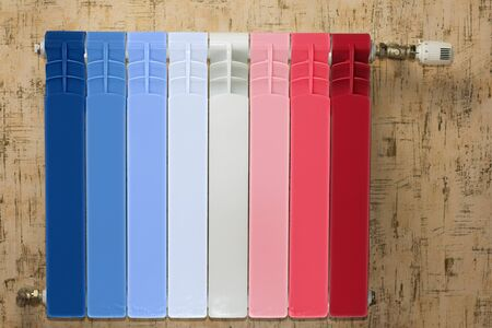 battery heating. It is painted in different colors from blue to red