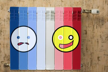 battery heating. It is painted in different colors from blue to red. there is an emoticon who is not happy that it s cold, the second one is happy that it s warm