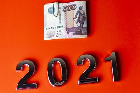 close-up. Black background. on it are numbers 2021 and a bill of 500 rubles. Russia. 版權商用圖片