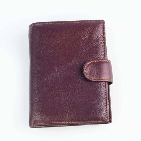 close-up. on white background. men's leather wallet. no insulation