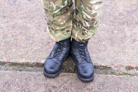 soldier's boots close-up. army. tinting. Stok Fotoğraf