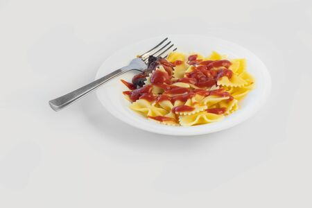 Shot on a white background. No isolation. White plate in it pasta and a piece of meat and a fork
