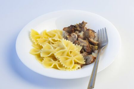 Shot on a white background. No isolation. White plate in it pasta and a piece of meat and a fork Standard-Bild