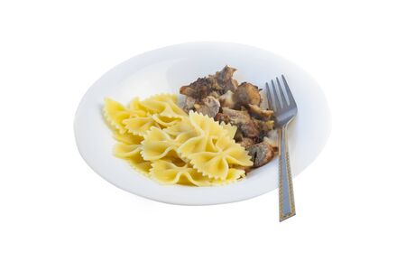 isolated on a white background. A white plate in it is a piece of pasta and a fork for food