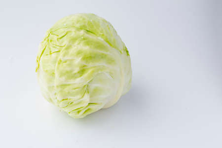 White background. A head of white cabbage. No isolation. Eco product.