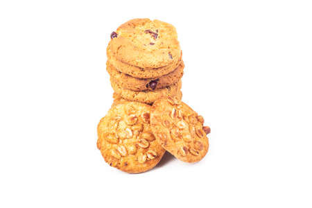 the cookies were laid out in the tower. On white background. Close-up 写真素材