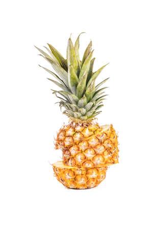 Studio lighting. white background. it has a juicy fruit on it. Pineapple