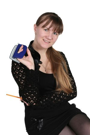 girl with pencil and hole-puncher, on white background photo