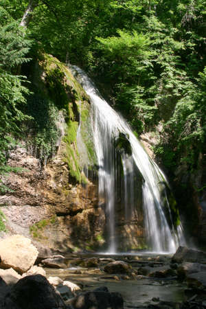 copse: waterfall in crimean game reserve, height 18 metres