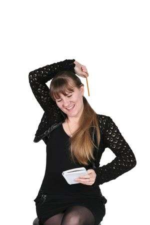 girl with pencil and notebook, on white background photo