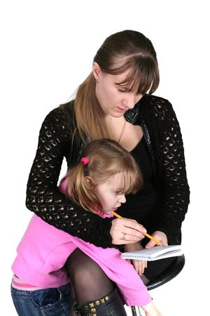 girl with pencil and notebook, on white background, and child photo