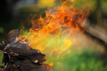 trembling: trembling of air from a fire flame Stock Photo