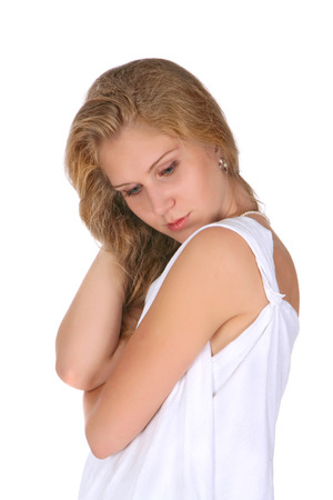 The girl with a long fair hair in white fabric