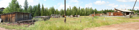 panorama the destroyed houses in the Siberian village