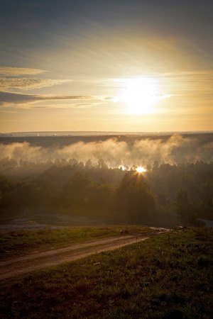 The morning landscape sunrise over the river