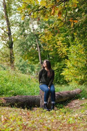 The beautiful girl with long hair sits on a stub in the autumn wood