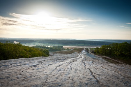 The mountain descent to the river morning Stock Photo