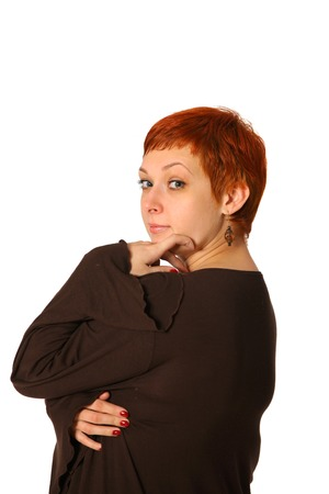 The pensive woman with a red hair