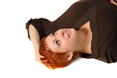 women with red hair on white background