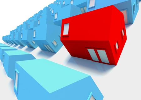 Red house in the foreground ,a picture for real-estate business Stock Photo - 11770924