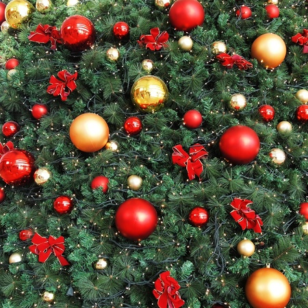 Decorative Christmas balls and Christmas tree photo