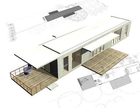 Housing architecture plans with 3D building structure photo