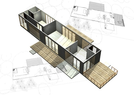 Housing architecture plans with 3D building structure Stock Photo - 11869551