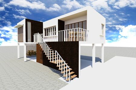 3d Modern house rendered photo