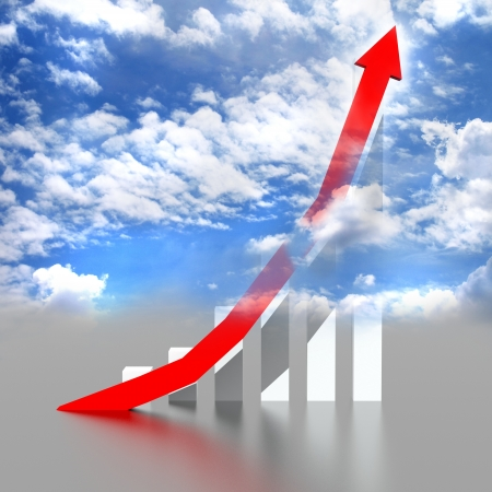 Business graph with going up,red arrow with blue sky Foto de archivo