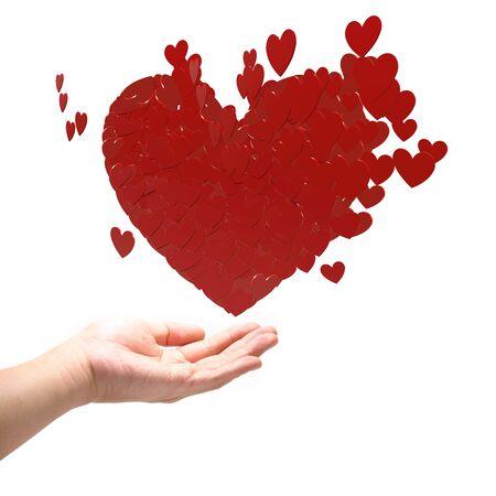Viele rote Herzen auf der Hand. Standard-Bild - 12086922