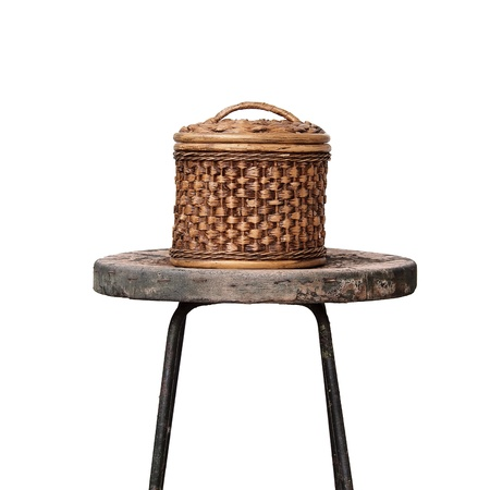 Basket wicker is Thai handmade on grunge chair Stock Photo - 12086972