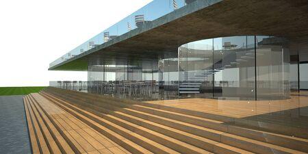 restaurant exterior: 3D rendering of modern building, luxury restaurant exterior, white sky  Stock Photo