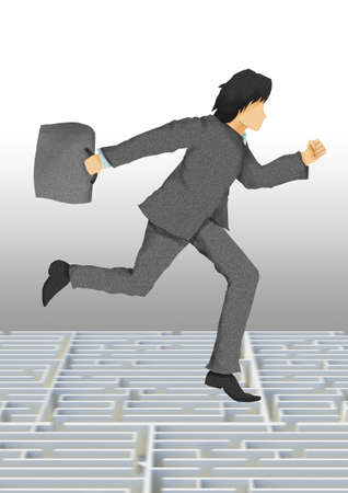 business man with briefcase running on maze, business conceptual illustration   illustration