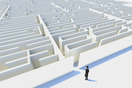 Business challenges,3d rendered. represented by a business man facing a mazeshowing the concept of challenges ant starting a journey using strategy and planning so you do not get lost.