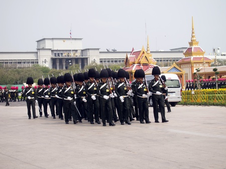 rajasuda: BANGKOK, MARCH 25  Soldiers prepare for the royal of cremation ceremony of HRH Princess Bejaratana Rajasuda in sanam luang on March 25,2012 in Bangkok, Thailand Editorial
