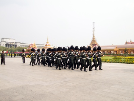 BANGKOK , MARCH 25  Soldiers prepare for the royal of cremation ceremony of HRH Princess Bejaratana Rajasuda in sanam luang on March 25,2012 in Bangkok, Thailand