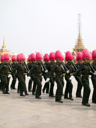 bejaratana: BANGKOK, MARCH 25  Soldiers prepare for the royal of cremation ceremony of HRH Princess Bejaratana Rajasuda in sanam luang on March 25,2012 in Bangkok, Thailand Editorial