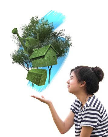 woman holding eco things, sustainable concept isolated on white Stock Photo - 13053216